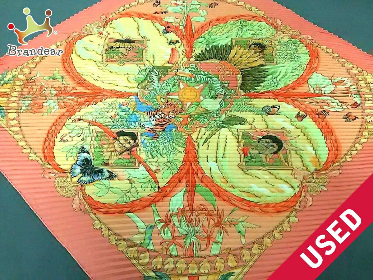 【新着】HERMES(エルメス) スカーフ新品同様■ カレプリセ ピンク×ライトグリーン×マルチ【20180921】【中古】