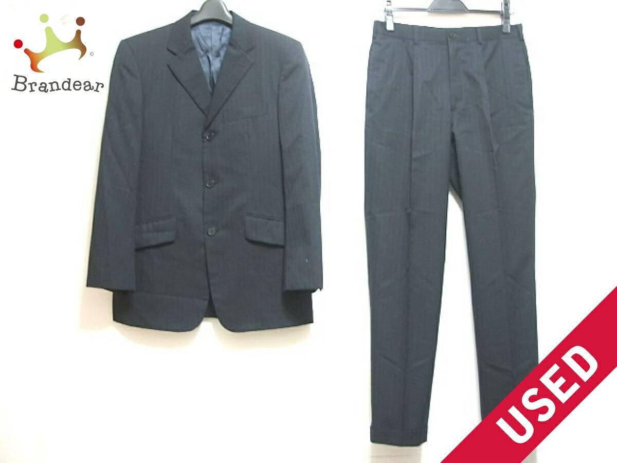 【新着】TAKEOKIKUCHI(タケオキクチ) シングルスーツ サイズ2 M メンズ 黒×ブラウン ストライプ/肩パッド【20180921】【中古】