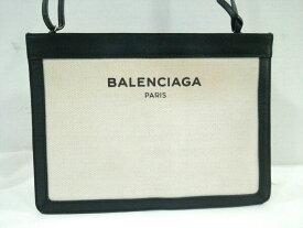 8a7b8103a7a3 中古 BALENCIAGA(バレンシアガ) ショルダーバッグ ネイビーポシェット 339937 黒×アイボリー ショルダーストラップ取外し可 レザー×  ...