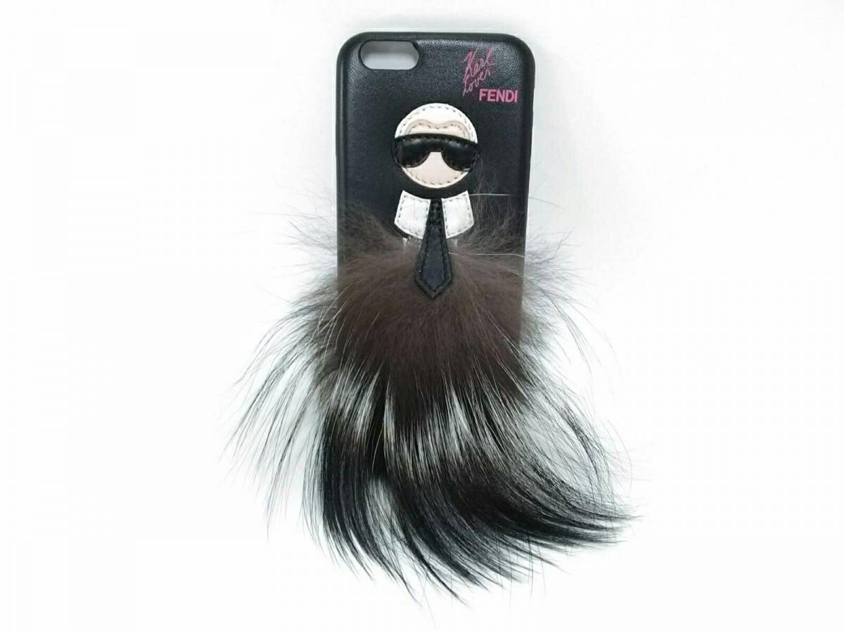 【新着】FENDI(フェンディ) 携帯電話ケース バッグバグズ - 黒×マルチ レザー×ファー【20190217】【中古】