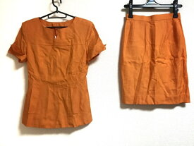 M'S GRACY(エムズグレイシー) スカートスーツ サイズ9 M レディース美品■ オレンジ 肩パッド【20200113】【中古】【dfn】