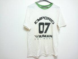 【新着】EMPORIOARMANI(エンポリオアルマーニ) 半袖Tシャツ メンズ アイボリー×黒×グリーン 切りっぱなし【20190621】【中古】