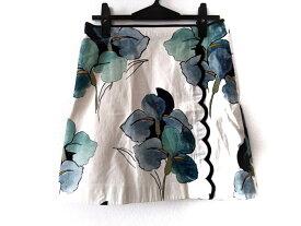 【新着】TORY BURCH(トリーバーチ) スカート サイズ2 S レディース美品■ 白×マルチ 花柄【20190825】【中古】