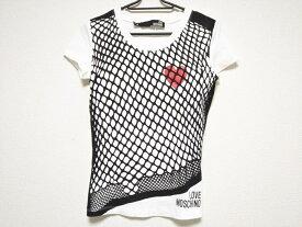 【新着】LOVE MOSCHINO(ラブモスキーノ) 半袖Tシャツ サイズI 38 レディース美品■ 白×黒×レッド メッシュプリント/ハート【20191220】【中古】
