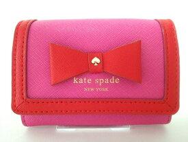 【新着】Kate spade(ケイトスペード) コインケース ヘイゼル コート ダーラ PWRU4474 ピンク×レッド リボン/キーリング・パスケース付き レザー【20200116】【中古】