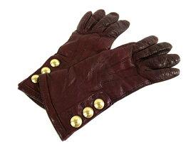 【新着】COACH(コーチ) 手袋 6 1/2 レディース美品■ ボルドー レザー【20200702】【中古】