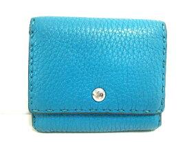 【新着】FENDI(フェンディ) 2つ折り財布 セレリア 8M0339 ブルー ローマンレザー【20201017】【中古】