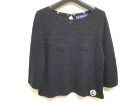 【新着】M'S GRACY(エムズグレイシー) 七分袖セーター サイズ40 M レディース ダークネイビー ショート丈/フェイクパール/ビーズ【20201228】【中古】