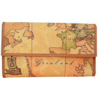 プリマクラッセ 財布 三つ折り 財布 小銭入れ付き W037 9000 Geo Classic ジオクラシック 世界地図柄 マップ柄 ベージュ系 【あす楽対応_関東】 【大人気・SALE・セール】