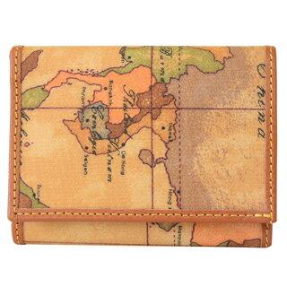 プリマクラッセ 財布 コンパクト財布 三つ折り 財布 小銭入れなし W100 9000 Geo Classic ジオクラシック 世界地図柄 マップ柄 ベージュ系 【あす楽対応_関東】