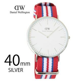 ダニエルウェリントン 腕時計 クラッシック 40mm メンズ シルバー 0212DW エクセター Classic exeter レッド ネイビー ホワイト マルチカラー トリコロール 【あす楽対応_関東】 【大人気・SALE・セール】