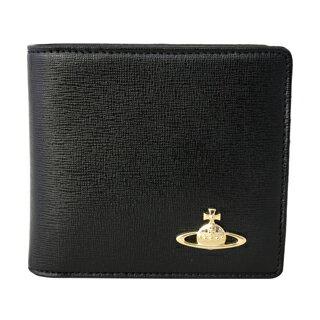 Vivienne Westwood ヴィヴィアンウエストウッド 51010009 二つ折り 財布 折りたたみ 財布 SAFFIANO BLACK ブラック 黒【あす楽対応_関東】