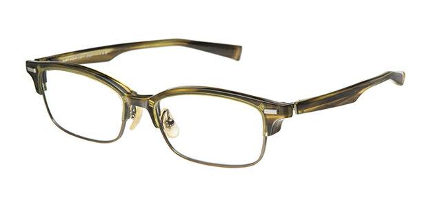 【新品】フォーナインズ999.9眼鏡フレーム M-25 6763 レイヤードイエローササ×アンティークゴールド セル ケース付き n42