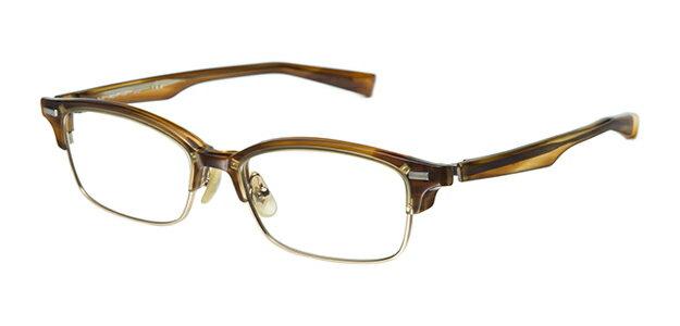 【新品】フォーナインズ999.9眼鏡フレーム M-25 6701 レイヤードブラウンササ セル ケース付き n43