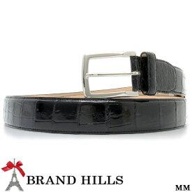 0a9859d75336 クロコダイル ブラック シャイニング加工 イタリーバックル 紳士用 メンズ ベルト 幅35ミリ ピンバックル 裏
