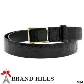 9156c8f72d45 クロコダイル ベルト シャイニング ブラック 幅35mm スライド式バックル 裏:牛革 紳士用 メンズ 日本