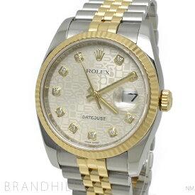 ロレックス 腕時計 メンズ 自動巻き デイトジャスト SS/YG シルバーコンピューター文字盤 10Pダイヤインデックス ルーレット M番 2007年頃 116233G ROLEX 美品 【中古】