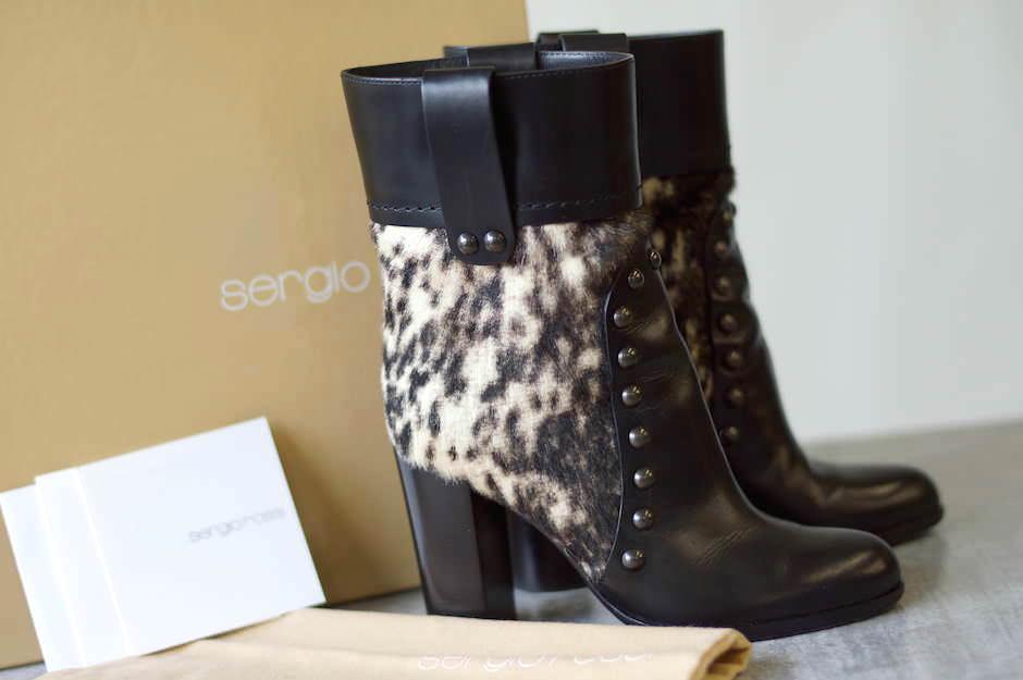 Sergio Rossi セルジオロッシ/boots/shoe/靴 ブーツ レオパード ショートブーツ スタッズ 【中古】【Sergio Rossi】