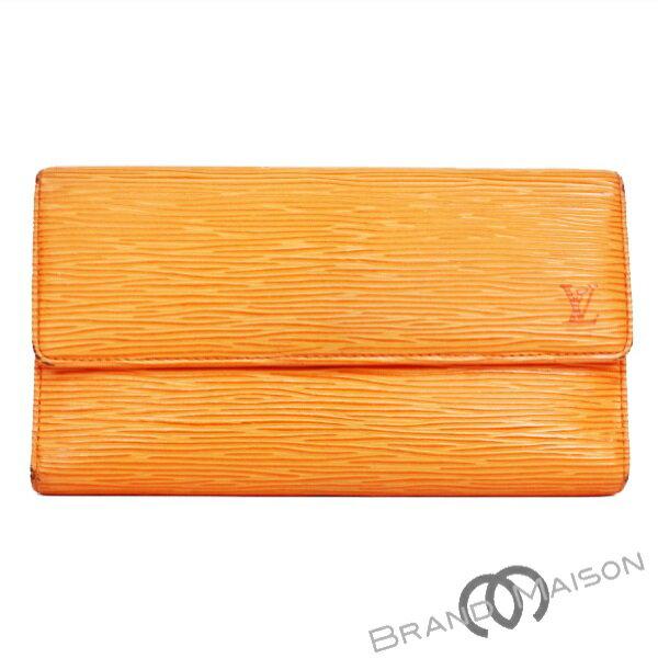 Bランク ルイ・ヴィトン 三つ折り長財布 M6338H マンダリンオレンジ エピ ポルトフォイユ・インターナショナル レディース LOUIS VUITTON orange 【中古】