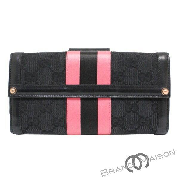 ABランク グッチ Wホック長財布 129157 ブラック ピンク GGキャンバス GUCCI black pink 【中古】