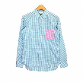 COMME des GARCONS HOMME DEUX コムデギャルソン オムドゥ 13SS ポケット切替ギンガムチェックL/Sシャツ サイズXXS ブルーチェック 長袖 メンズ 中古 消費税込【Y】