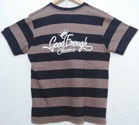 GOOD ENOUGH グッドイナフ プリズンボーダー バッグ ロゴ プリント TEE Tシャツ カットソー ブラック チャコールグレー メンズ Sサイズ 中古 消費税込【Y】