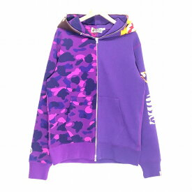 A BATHING APE アベイシングエイプ 2nd Ape Tiger Half Full Zip Hoodie Purple サイズ XL パーカー カモ パープル メンズ 中古 消費税込 送料無料【Y】