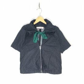 MARNI マルニ 襟ドローコード装飾S/Sジップアップデニムジャケット サイズ36 インディゴ レディース 半袖 中古 消費税込 送料無料【Y】