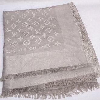 路易威登 Monogram 大围巾丝 / 羊毛 / M 71336/披肩 / 150 厘米/米色/路易威登
