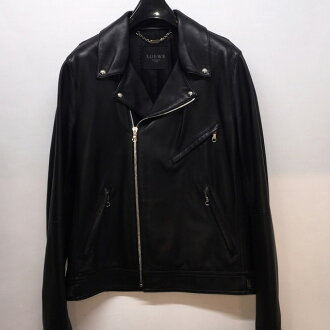 Lamb leather riders jacket / black / color BLACK/ sheep leather / size 44/