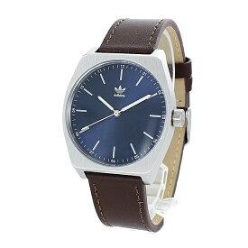 Adidas アディダス 時計 メンズ レディース 腕時計兼用 プロセス シンプル ネイビー文字盤 茶色 レザー 革 CJ6345 ペアにおすすめ ペアセット カップル 誕生日プレゼント