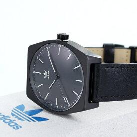 【最大10,000円OFFクーポン】Adidas アディダス 時計 メンズ レディース 腕時計兼用 プロセス ブラック文字盤 黒 レザー 革 CJ6349 ペアにおすすめ ペアセット カップル 誕生日プレゼント