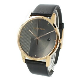 CALVIN KLEIN カルバンクライン 時計 メンズ 腕時計 シティ クールグレー ローズゴールド 黒 革 レザー ウォッチ K2G2G6C3 誕生日 お祝い ギフト
