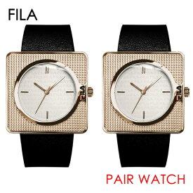 FILA フィラ 腕時計 ペアウォッチ 同じサイズ 2本セット シェア メンズ レディース ユニセックス 38mm ローズゴールドケース ブラック レザー 黒 革ベルト 38-022-00238-022-002