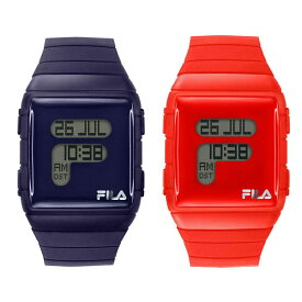 FILA フィラ 腕時計 ペアウォッチ 同じサイズ お揃い メンズ レディース 男女兼用 ユニセックス FILASTYLE デジタル ダークブルー レッド 青 赤 シリコンベルト 38-105-00338-105-002 誕生日 お祝い ギフト