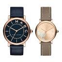【無料!ペアケース付き】マークジェイコブス 腕時計 ペアウォッチ レザー 革とけい ネイビー ブラウンベージュ MJ153…