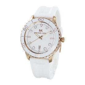 マイケルコース 腕時計 メンズ レディース ユニセックス 男女兼用 お洒落 ペアもおすすめ 時計 ランウェイ 日付表示 ホワイト ラバー