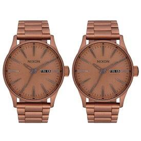 【 クリスマスプレゼント 】ニクソン 腕時計 ペアウォッチ おそろい ペア 友達 夫婦 両親 日付 カレンダー 大きい 時計 ボーイズサイズ アンティークゴールド