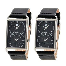 【ペアBOXつき】国内正規品 サルバトーレマーラ 腕時計 おそろい ペアウォッチ スクエア 長方形 海外旅行に便利 2つの時間 ブラック レザー SM18108-SSBKSM18108-SSBK 誕生日 お祝い ギフト
