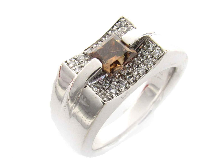 【中古】ジュエリー ダイヤモンド リング 指輪 ノーブランドジュエリー レディース K18WG(750) ホワイトゴールド x ダイヤモンド(1.082ct/0.28ct)