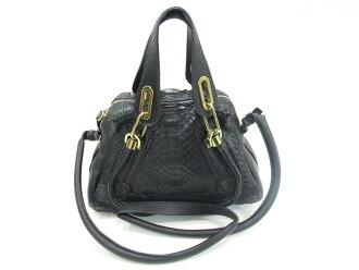 Authentic Chloe Paraty 2way Shoulder bag Handbag python black
