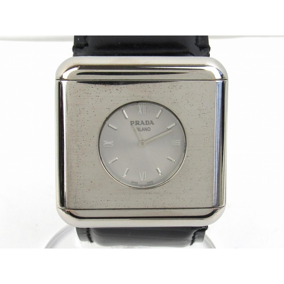 【中古】プラダ スクエア型 ウォッチ 腕時計 時計 ステンレススチール(SS)xエナメルベルト