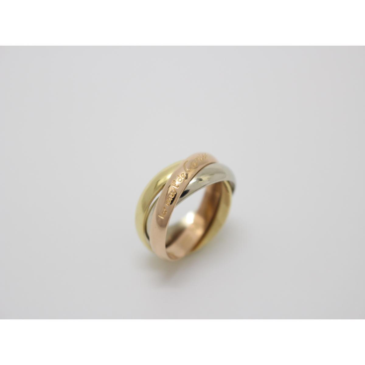 【中古】カルティエ トリニティリング 指輪 10号 刻印#50 貴金属 宝石 ブランドジュエリー レディース K18YG(750) イエローゴールド×K18WG(750) ホワイトゴールド×K18PG(750) ピンクゴールド イエローゴールド×シルバー×ピンクゴールド