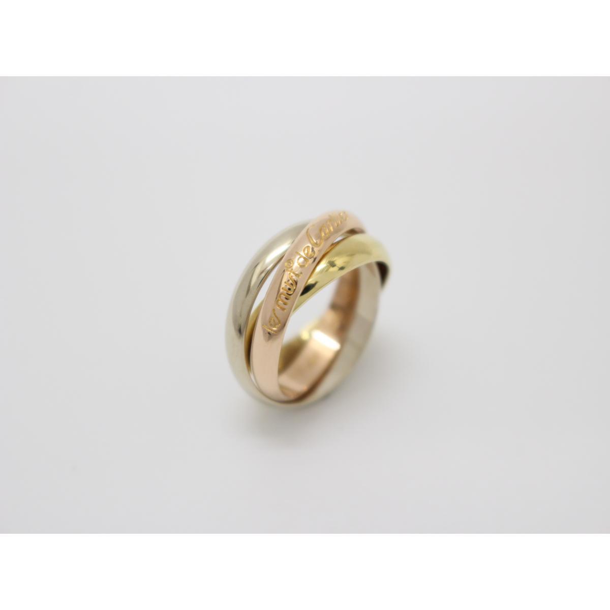 【中古】カルティエ トリニティリング 指輪 11号 刻印#51 貴金属 宝石 ブランドジュエリー レディース K18YG(750) イエローゴールド×K18WG(750) ホワイトゴールド×K18PG(750) ピンクゴールド イエローゴールド×シルバー×ピンクゴールド