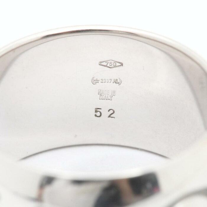 【中古】ブルガリロゴリング指輪ブランドジュエリーレディースK18WG(750)ホワイトゴールド