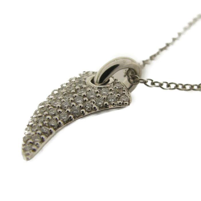 【中古】ウノアエレダイヤモンドネックレスブランドジュエリーユニセックスK18WG(750)ホワイトゴールド×ダイヤモンド25P