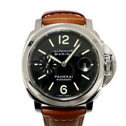 【中古】パネライルミノールマリーナ腕時計時計メンズステンレススチール(SS)xレザーブラック(PAM00104)