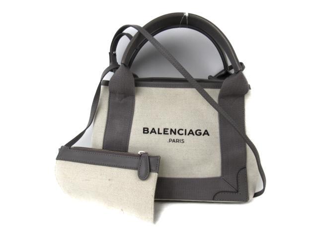 【中古】バレンシアガ カバXS ショルダーバッグ レディース キャンバス x レザー ナチュラル x グレー (390346)