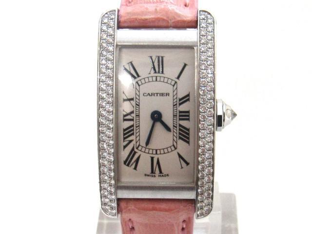 【中古】カルティエ タンクアメリカン 腕時計 ウォッチ レディース K18WG(750)ホワイトゴールド×ダイヤモンド×革 シルバー | Cartier ブランドオフ BRANDOFF