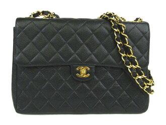 Auth CHANEL 香奈儿 Jumbo CC Matelasse Chain 单肩包 bag Caviar skin leather 黑色 Vintage | BRANDOFF 柏欧福
